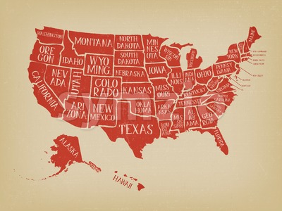 Vintage American Map Poster With States Names Stock Vector