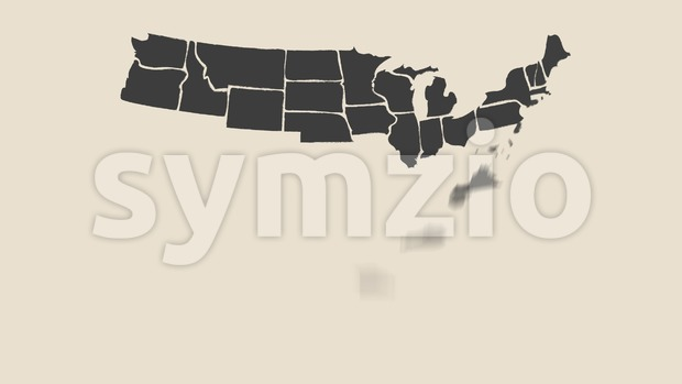4k animation of a vintage textured american map background, with names of fifty states