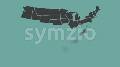 Vintage American Map Animation With States Names Stock Video
