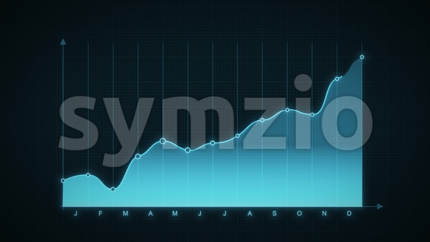 4k animation of a flat design business and annual market data analysis and reports, with graphic lines and dots