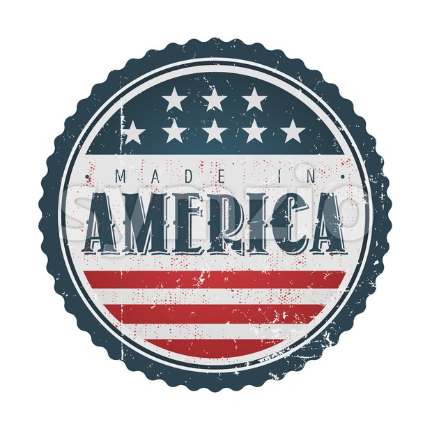 Made In USA Vintage Badge Seal Stock Vector