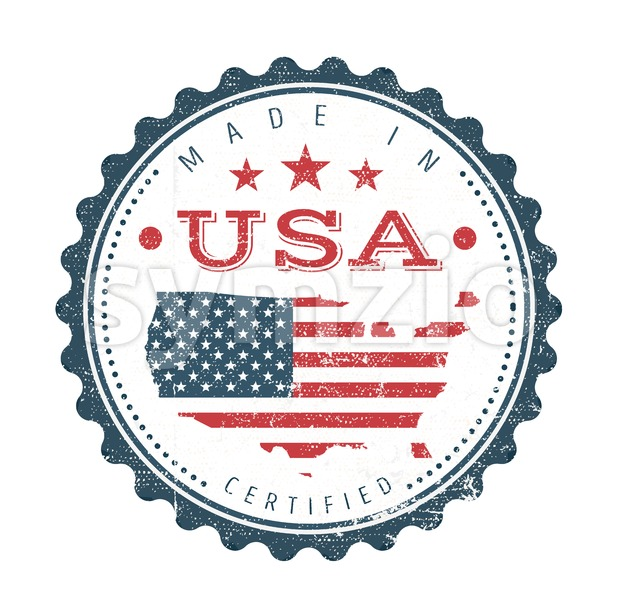 Illustration of a cool vintage grunge textured made in USA badge seal certificate with stars and stripes and elegant typography