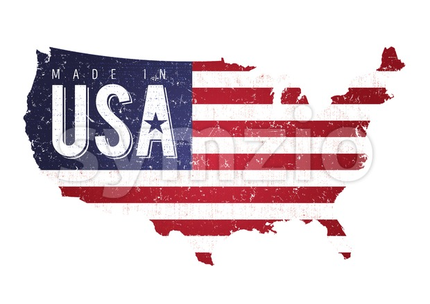 Illustration of a vintage grunge textured american USA map background, with masked flag and also fabric and weathered patterns
