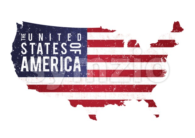 Vintage Textured American Map With Flag Stock Vector