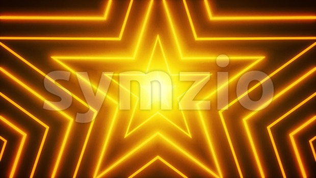 4k animation of an abstract digital star shape background with neon and shiny effects seamless looping