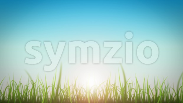 4k animation of a loopable beautiful nature background with blades of grass moving with the wind and lens flare for ...