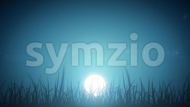 4k animation of a loopable beautiful nature background with blades of grass moving with the wind on night sky with ...
