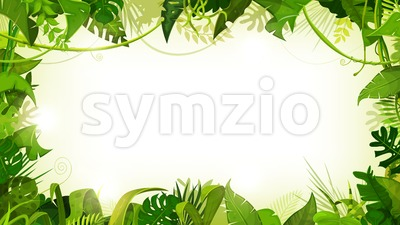 Jungle Tropical Landscape Wide Background Stock Vector
