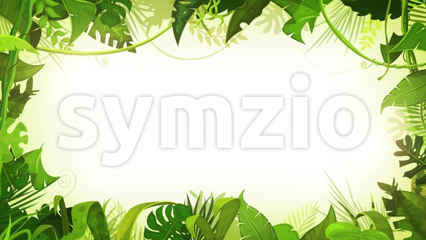4k animation of a jungle landscape background, with ornaments made of leaves and foliage of tropical plants and trees in ...