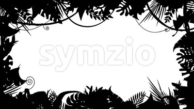 Black And White Jungle Landscape Silhouette Animation Loop Stock Video