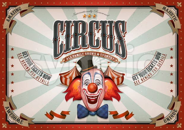 Vintage Circus Poster With Clown Head Stock Vector