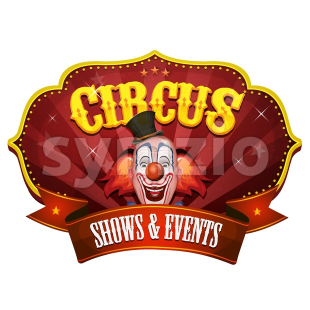 Carnival Circus Banner With Clown Head Stock Vector