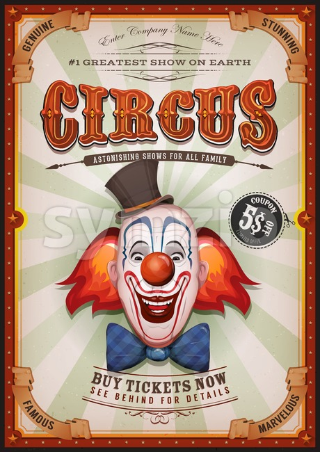 Illustration of retro and vintage circus poster background, with design clown face and grunge texture for arts festival events and ...
