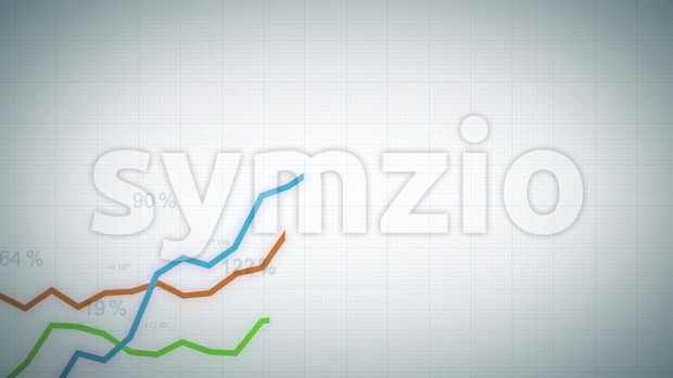 4k animation of a business infographics with rising arrow and bar stats appearing, symbolizing growth and success, with glitch and ...