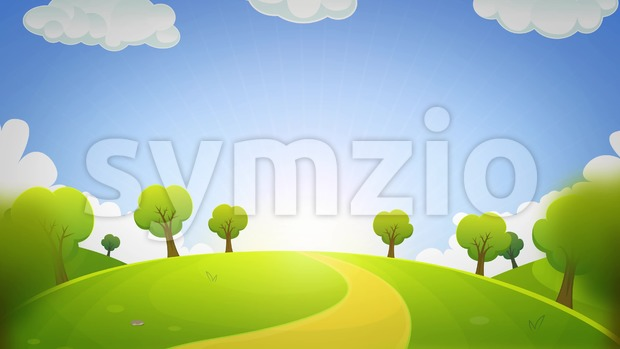 4k animation of a cartoon summer or spring season country landscape, with road trail leading towards horizon seamless looping