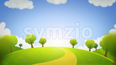 Spring Or Summer Cartoon Landscape Animation Loop Stock Video
