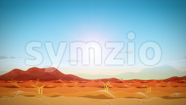 4k seamless looped animation of a far west desert landscape background, with moutains in the sunset and sunshine with optical ...