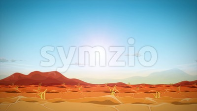 Far West Desert Seamless Landscape Animation Loop Stock Video