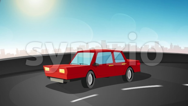 4k animation of a cartoon car driving on the urban road highway, seamless looping