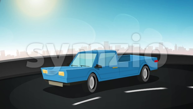 4k animation of a cartoon truck/car driving on the urban road highway, seamless looping