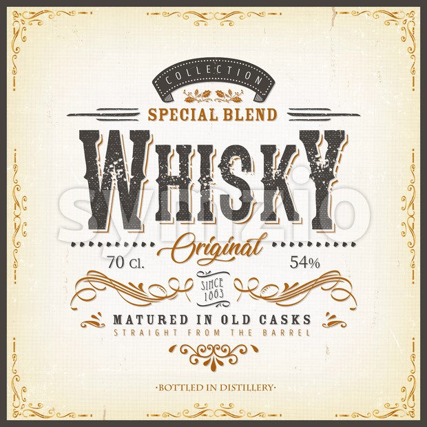 Illustration of a vintage design elegant whisky label, with crafted letterring, specific product mentions, textures and celtic patterns, on blue ...