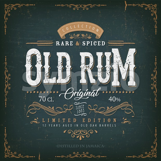 Vintage Old Rum Label For Bottle Stock Vector