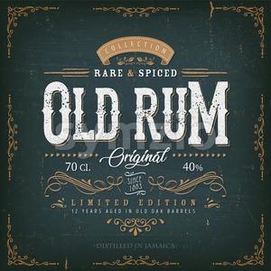 Vintage Old Rum Label For Bottle Stock Vector