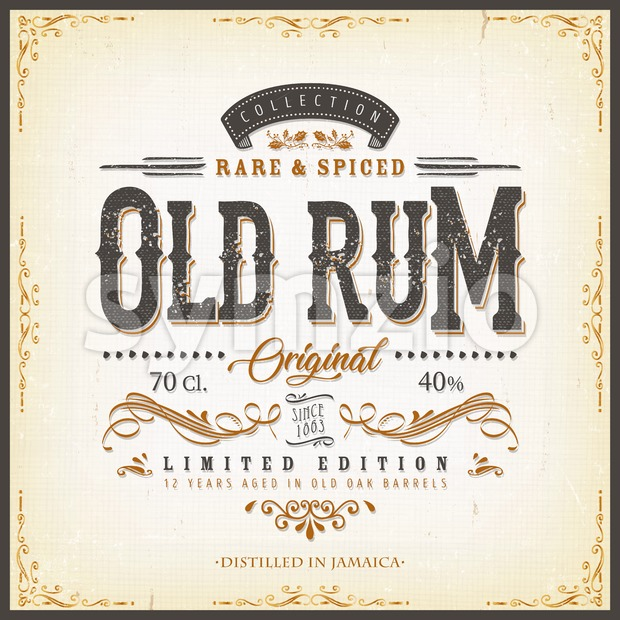 Illustration of a vintage design elegant rum beverage label, with crafted letterring, specific product mentions, textures and floral patterns