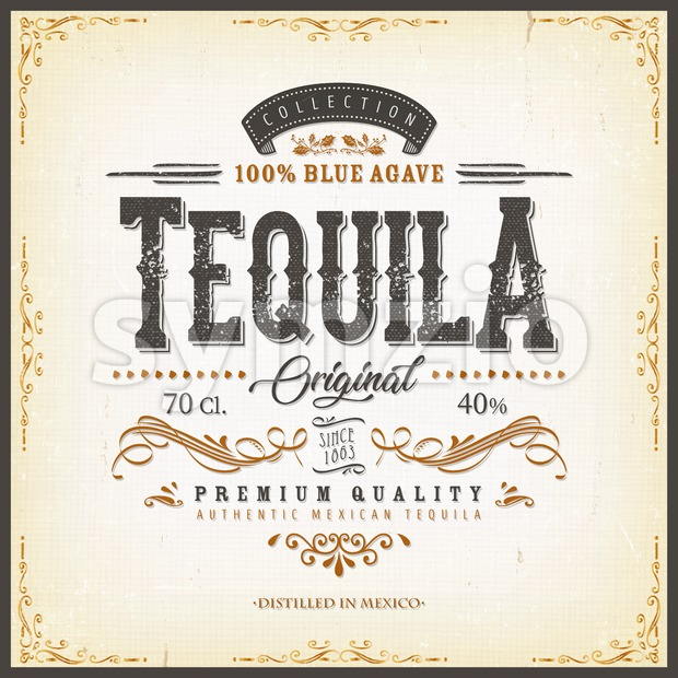 Vintage Mexican Tequila Label For Bottle Stock Vector