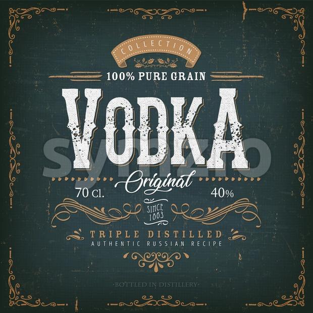Vintage Vodka Label For Bottle Stock Vector