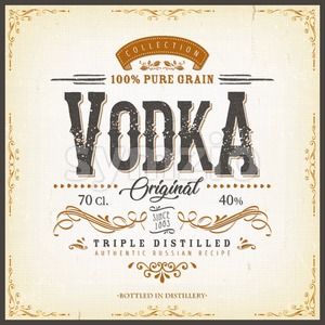 Vintage Vodka Label For Bottle Stock Vector