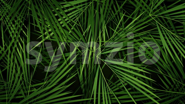 4k animation of a summer season tropical background with palm trees leaves and vegetation patterns seamless looping