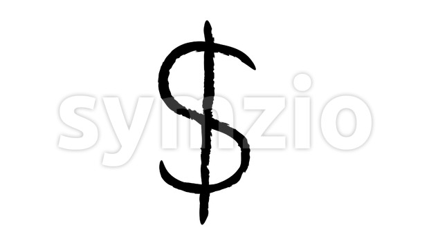 4k animation of a doodle dollar currency sign hand drawn made looping