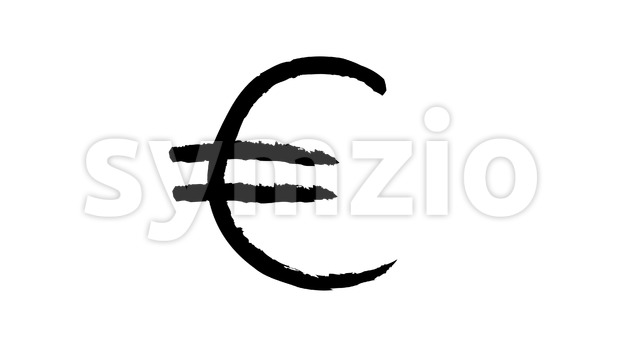 4k animation of a doodle euro currency sign hand drawn made looping