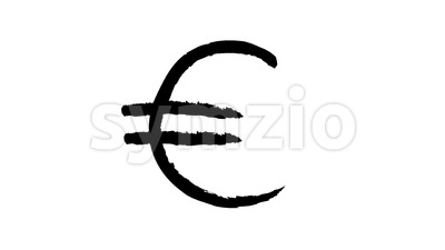 Hand Drawn Animation Of Euro Sign Loop Stock Video