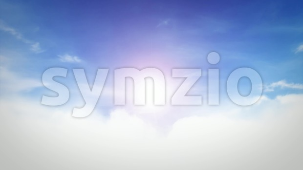 Looped animation of an elegant relaxing heaven sky background, with realistic clouds and smoke shapes quietly moving on blue sky