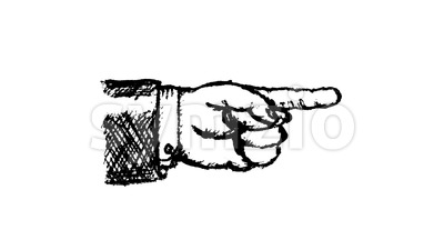 Doodle Pointing Finger Sign In Stop Motion Mode Stock Video