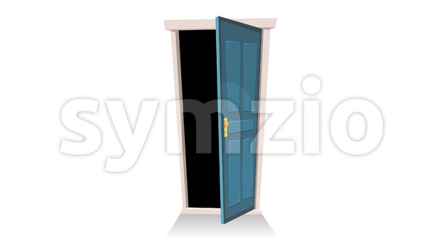 4k animation of a cartoon front door opening and closing with landscape and black layer version