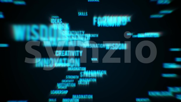 4k animation of an abstract business background with multiple words success related and chromatic aberration effect