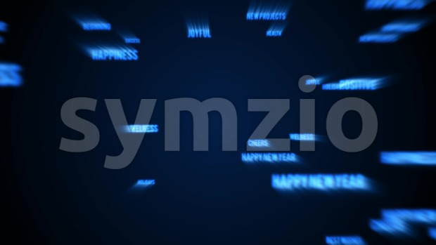 4k animation of an abstract christmas and happy new year background with multiple words appearing smoothly