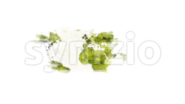4k animation of an abstract watercolor fx world map background with paint brush strokes mask revealing