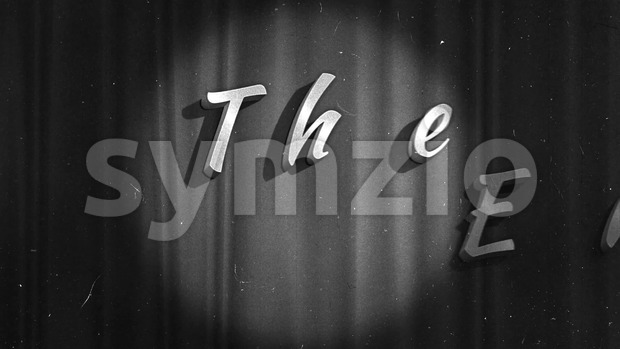 4k animation of a super elegant vintage retro the end scene with elegant lettering like in old time hollywood movies