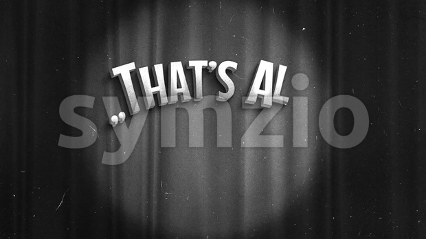 4k animation of a super elegant vintage retro that's all folks end scene with elegant lettering like in old time ...
