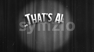 Vintage That's All Folks Cinema Screen Stock Video