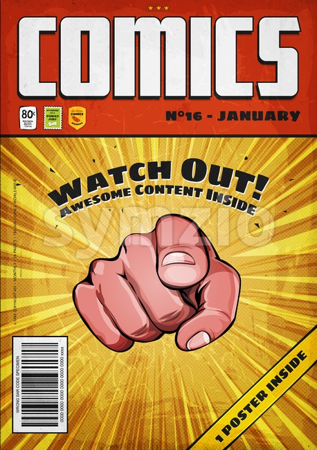 Comic Book Old Style Cover Template Stock Vector