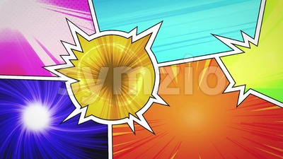 Comic Book Action Background With Power Fx Stock Video