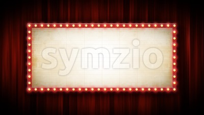 Theater Or Cinema Background With Marquee Sign And Red Curtains Stock Video