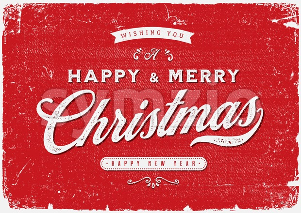 Illustration of an elegant christmas vintage background, with beautiful typography and grunge texture, for christmas and new year's eve holidays