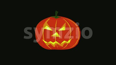 Cartoon Halloween Pumpkin With Glitch Fx Animation Stock Video
