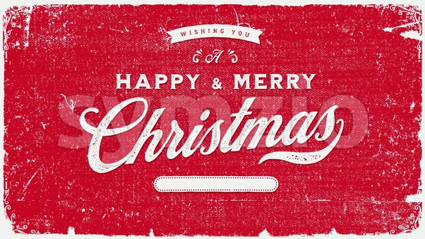 4k animation of a vintage retro merry christmas holidays background, with snow falling and elegant lettering